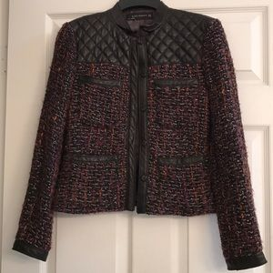 LEATHER-TRIMMED BOUCLE JACKET
